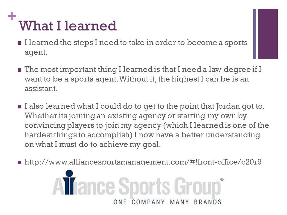 + What I learned I learned the steps I need to take in order to become a sports agent.