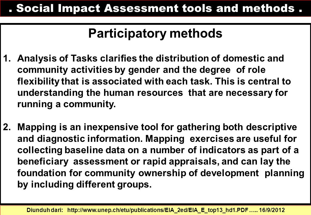Participatory methods 1.Analysis of Tasks clarifies the distribution of domestic and community activities by gender and the degree of role flexibility
