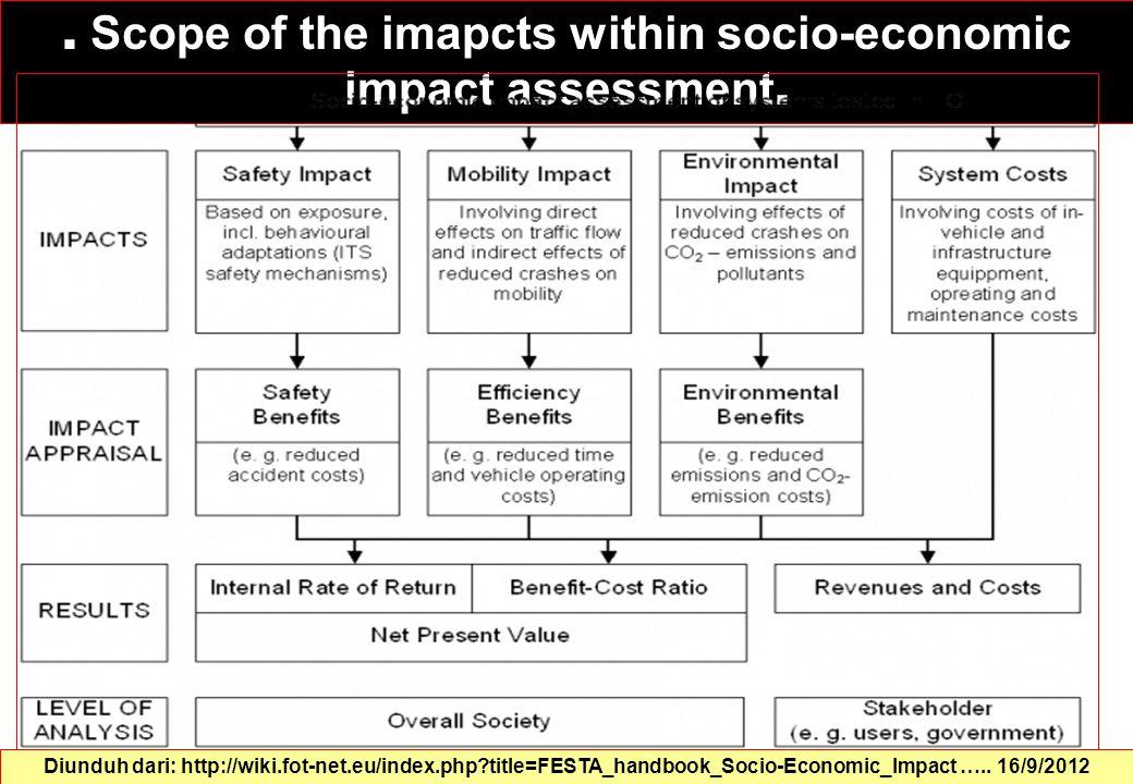 Scope of the imapcts within socio-economic impact assessment.