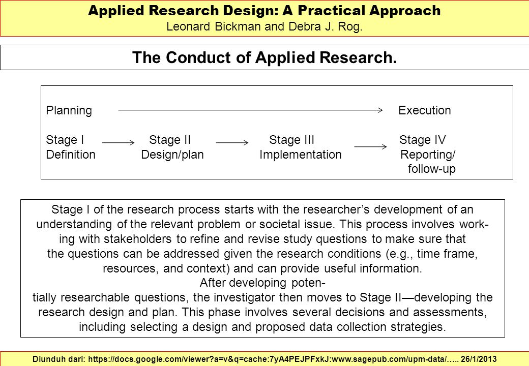 The Conduct of Applied Research. Applied Research Design: A Practical Approach Leonard Bickman and Debra J. Rog. Diunduh dari: https://docs.google.com