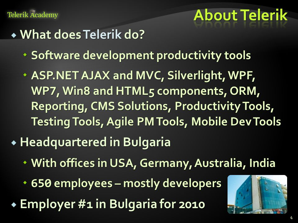  Nikolay Kostov  Technical Trainer @ Telerik Corp.