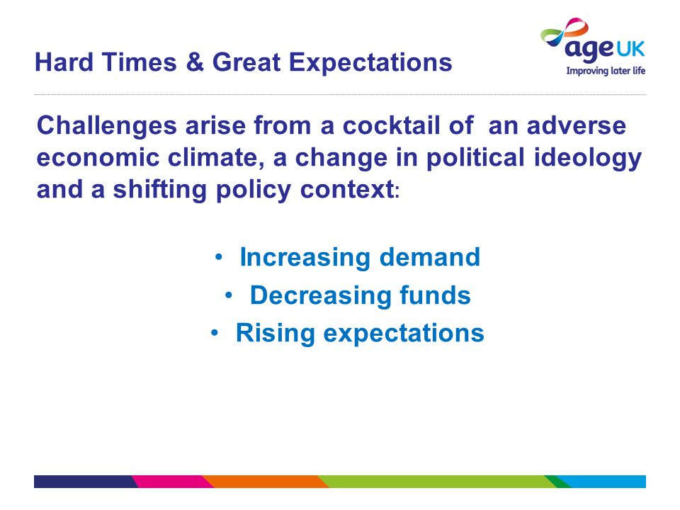 Challenges arise from a cocktail of an adverse economic climate, a change in political ideology and a shifting policy context : Increasing demand Decr
