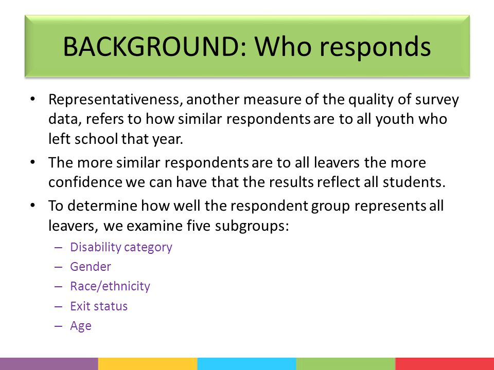 BACKGROUND: Who responds Representativeness, another measure of the quality of survey data, refers to how similar respondents are to all youth who left school that year.