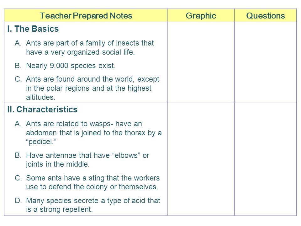 Teacher Prepared NotesGraphicQuestions I.