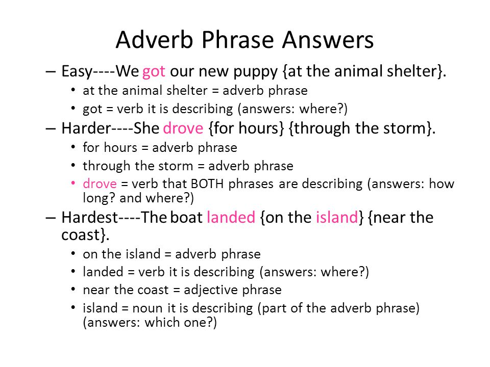 Adverb Phrase Answers – Easy----We got our new puppy {at the animal shelter}. at the animal shelter = adverb phrase got = verb it is describing (answe