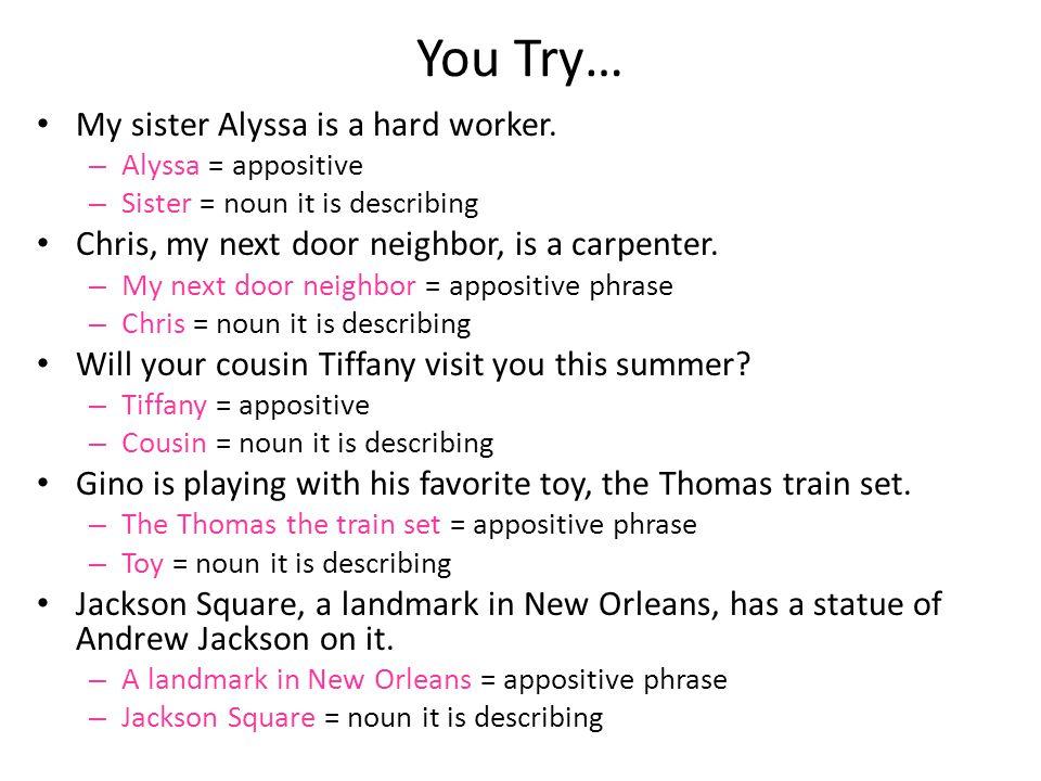 You Try… My sister Alyssa is a hard worker. – Alyssa = appositive – Sister = noun it is describing Chris, my next door neighbor, is a carpenter. – My