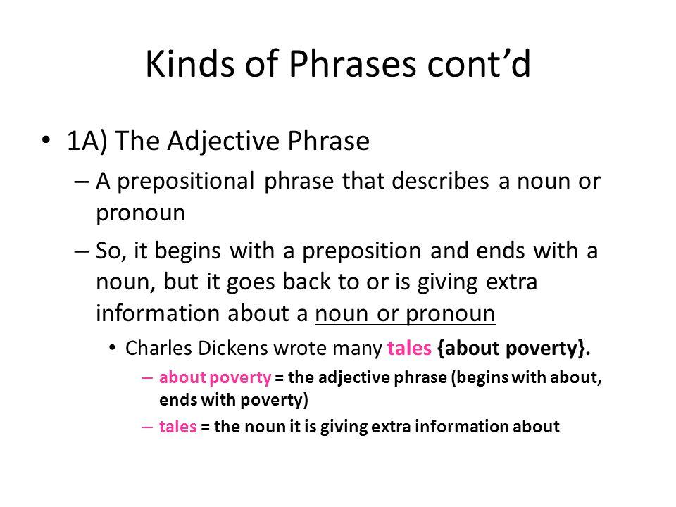 Kinds of Phrases cont'd 1A) The Adjective Phrase – A prepositional phrase that describes a noun or pronoun – So, it begins with a preposition and ends