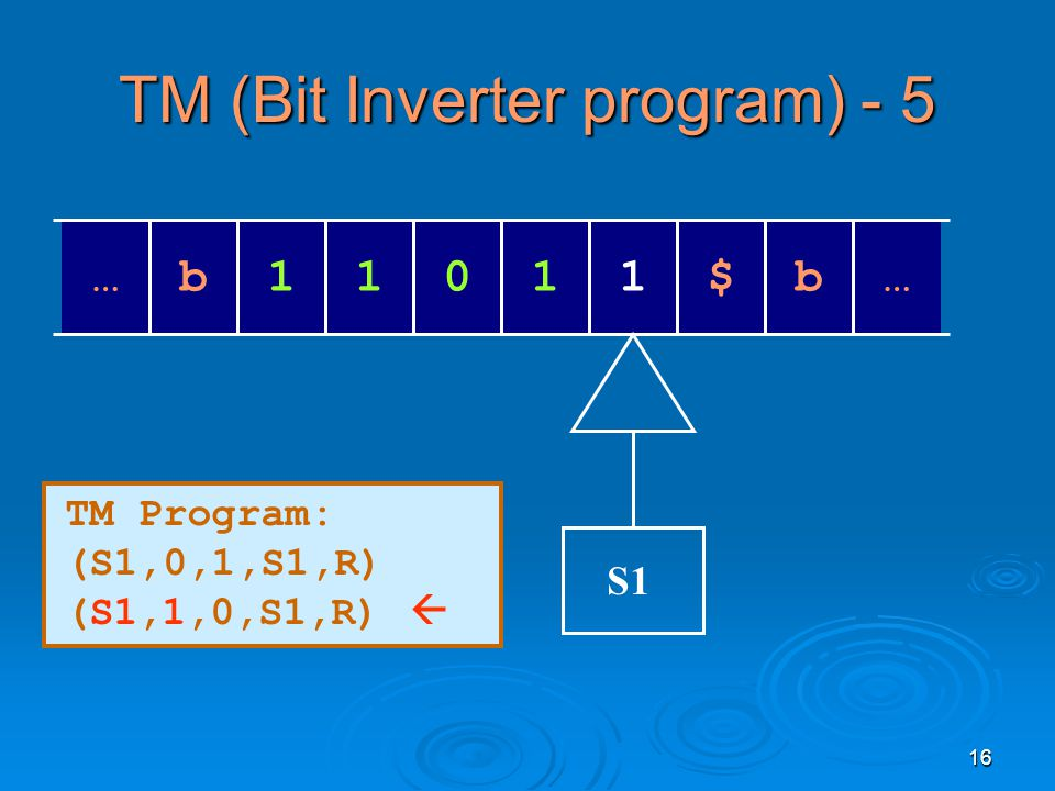 16 TM (Bit Inverter program) - 5 … 111$01b … b S1 TM Program: (S1,0,1,S1,R) (S1,1,0,S1,R) 