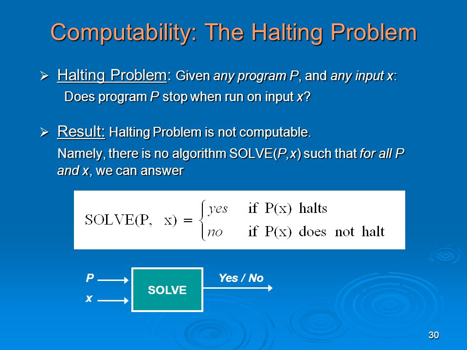 30 Computability: The Halting Problem  Halting Problem: Given any program P, and any input x: Does program P stop when run on input x.