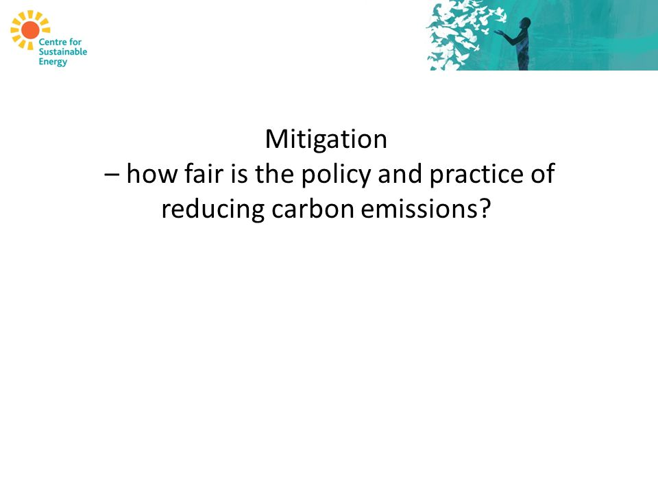 Mitigation – how fair is the policy and practice of reducing carbon emissions