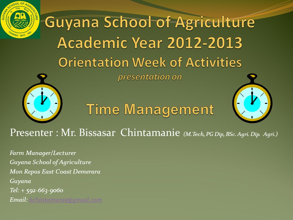 Presenter : Mr. Bissasar Chintamanie (M.Tech, PG Dip, BSc.