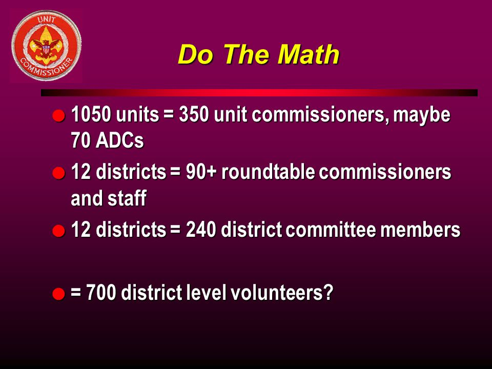 Do The Math l 1050 units = 350 unit commissioners, maybe 70 ADCs l 12 districts = 90+ roundtable commissioners and staff l 12 districts = 240 district committee members l = 700 district level volunteers