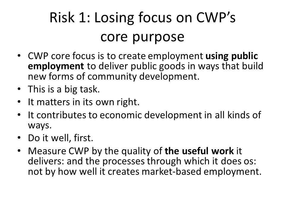 Risk 1: Losing focus on CWP's core purpose CWP core focus is to create employment using public employment to deliver public goods in ways that build n