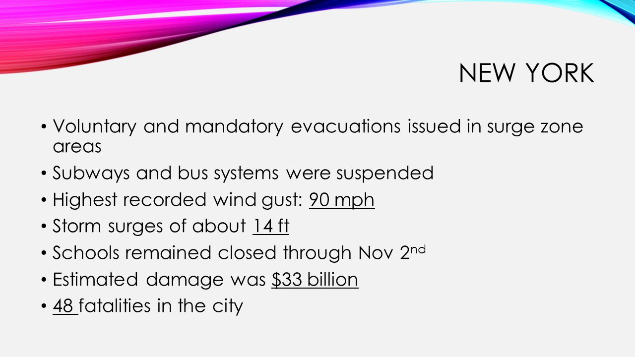 NEW YORK Voluntary and mandatory evacuations issued in surge zone areas Subways and bus systems were suspended Highest recorded wind gust: 90 mph Stor