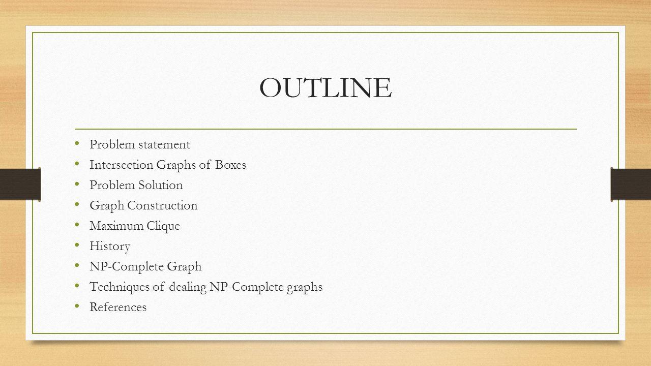 OUTLINE Problem statement Intersection Graphs of Boxes Problem Solution Graph Construction Maximum Clique History NP-Complete Graph Techniques of deal