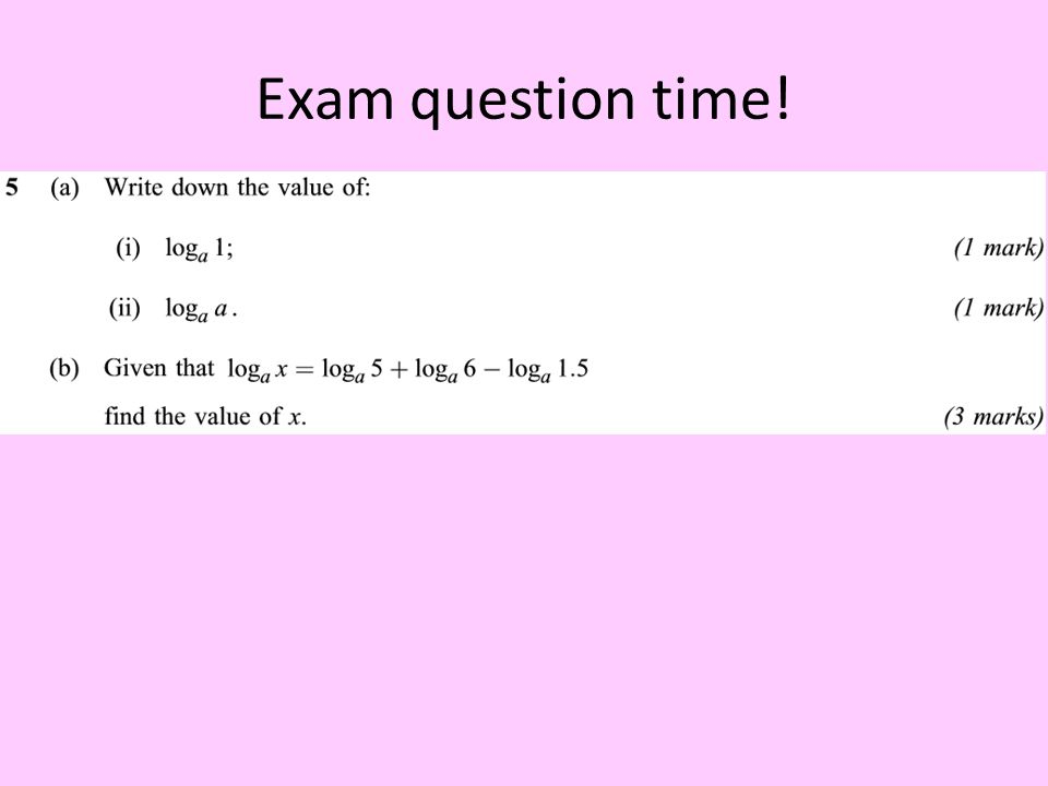 Exam question time!