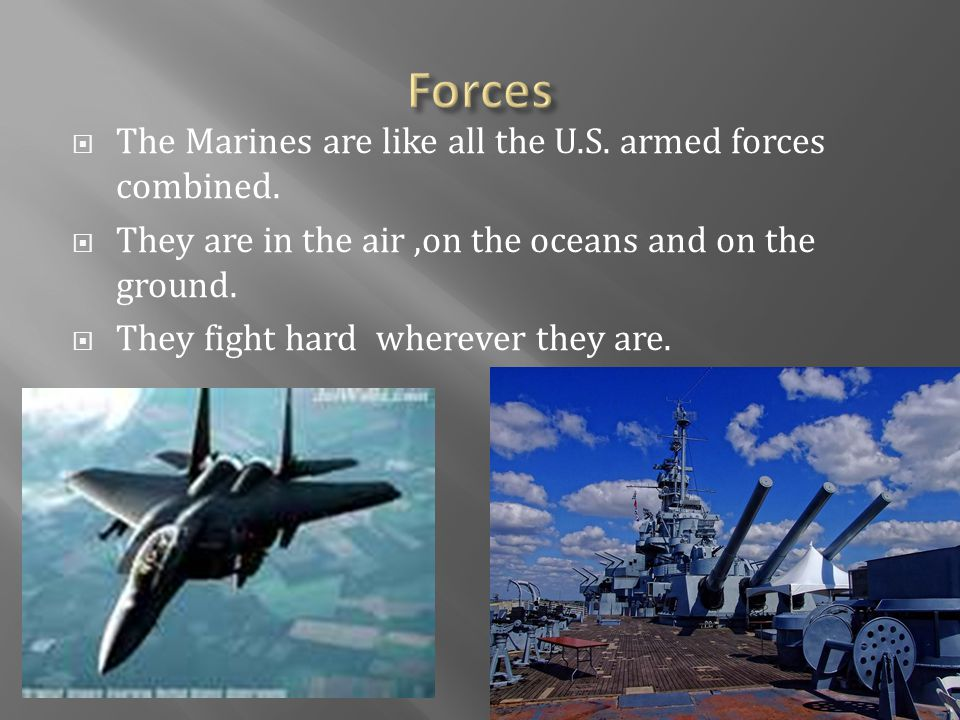  The Marines are like all the U.S. armed forces combined.