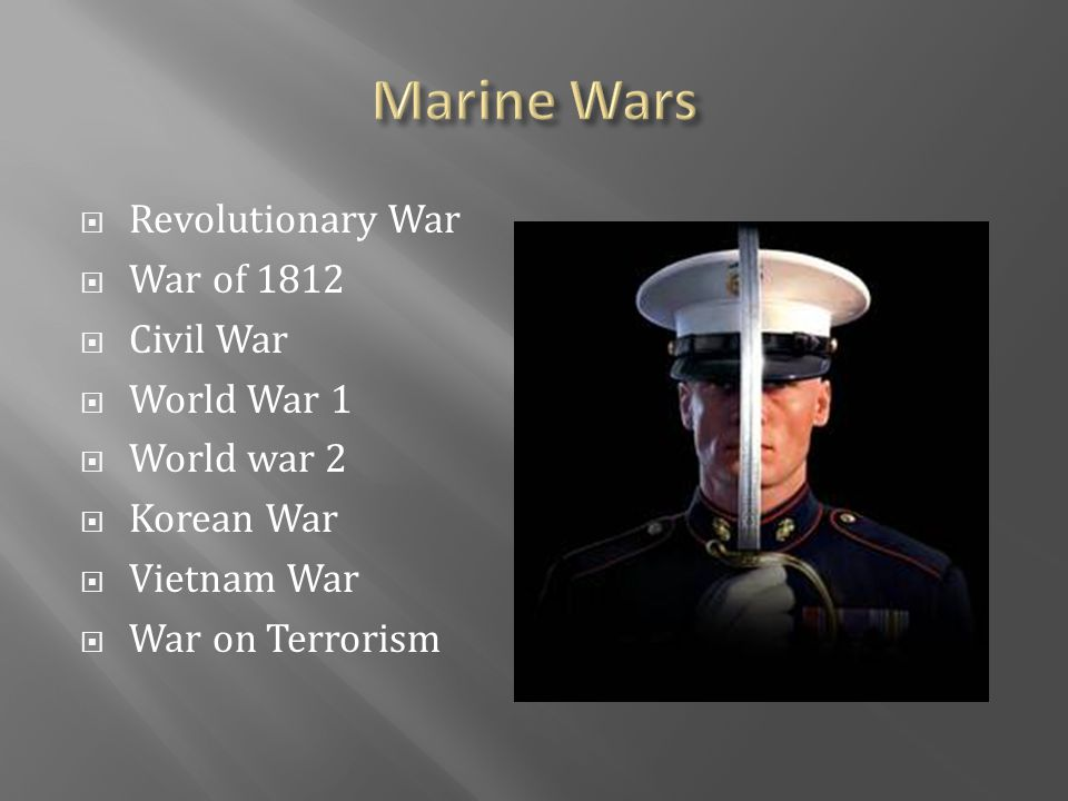  Revolutionary War  War of 1812  Civil War  World War 1  World war 2  Korean War  Vietnam War  War on Terrorism