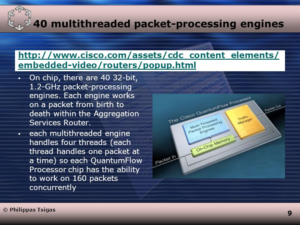 9 40 multithreaded packet-processing engines http://www.cisco.com/assets/cdc_content_elements/ embedded-video/routers/popup.html  On chip, there are 40 32-bit, 1.2-GHz packet-processing engines.
