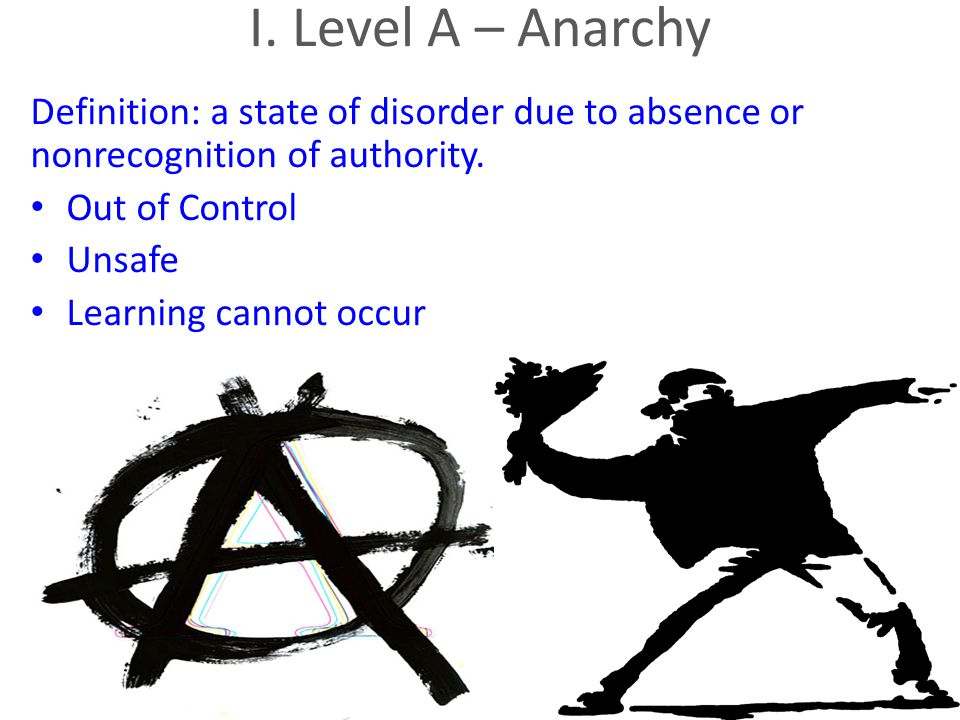I. Level A – Anarchy Definition: a state of disorder due to absence or nonrecognition of authority.