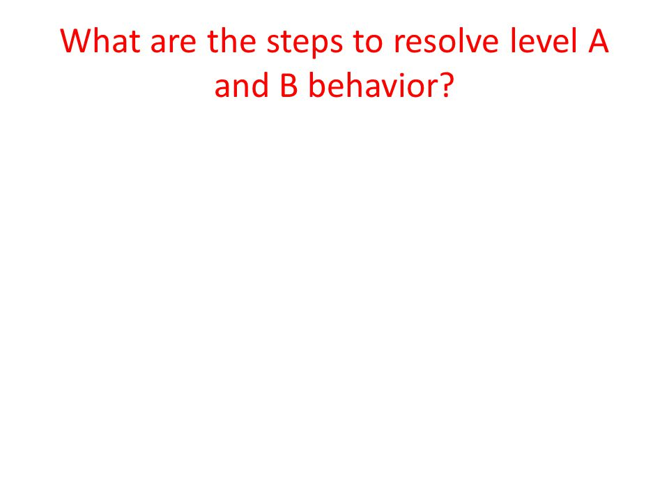 What are the steps to resolve level A and B behavior