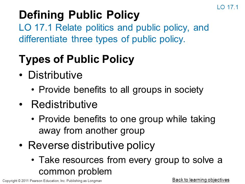 Defining Public Policy LO 17.1 Relate politics and public policy, and differentiate three types of public policy. Types of Public Policy Distributive