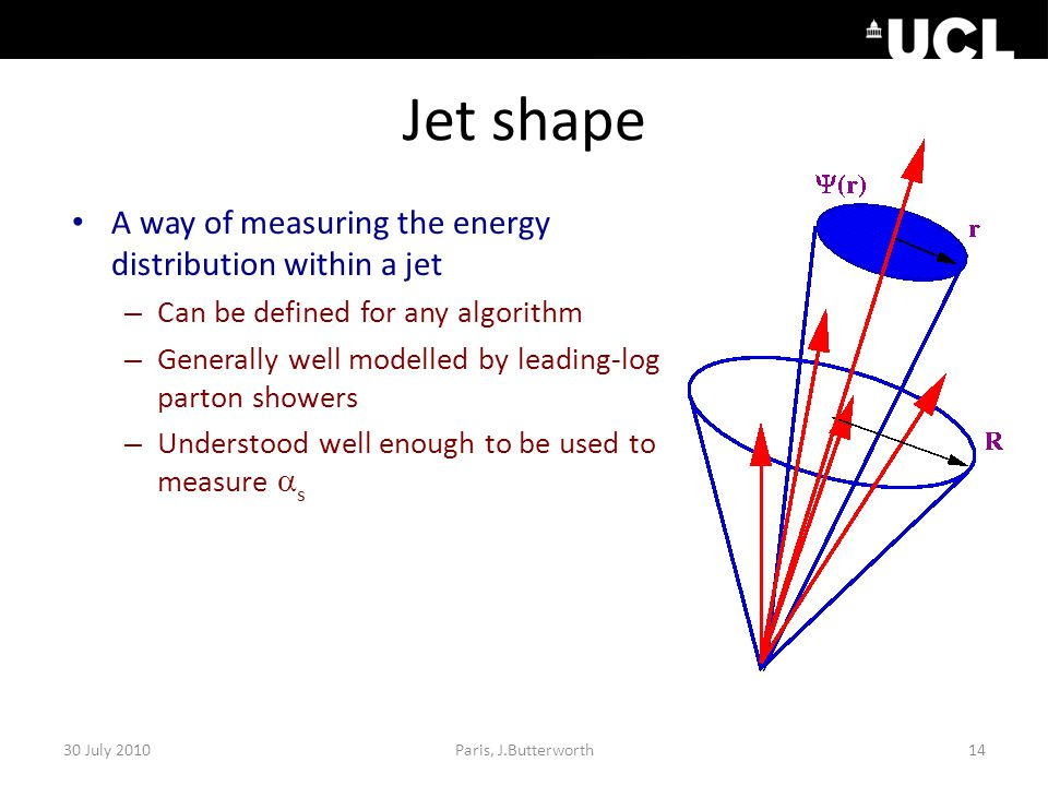 Jet shape A way of measuring the energy distribution within a jet – Can be defined for any algorithm – Generally well modelled by leading-log parton s