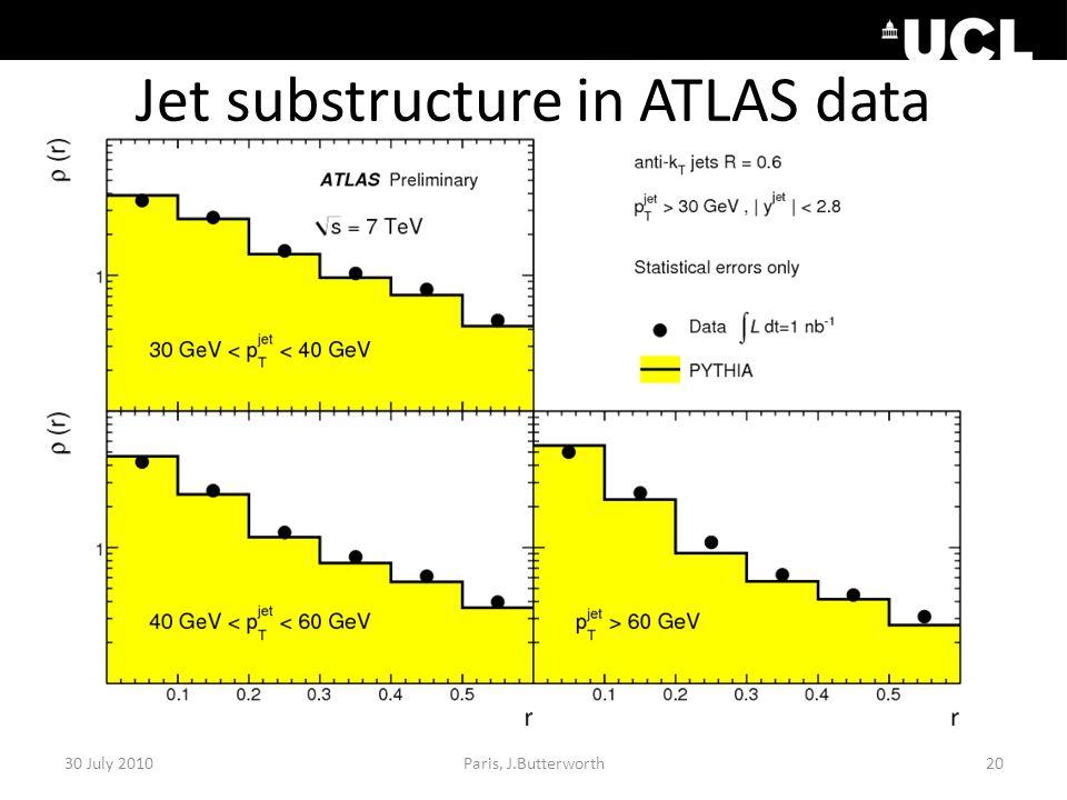 Jet substructure in ATLAS data 30 July 2010Paris, J.Butterworth20