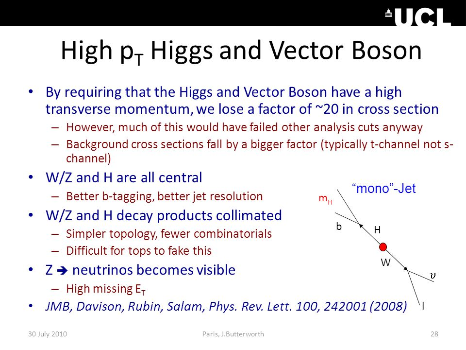 High p T Higgs and Vector Boson By requiring that the Higgs and Vector Boson have a high transverse momentum, we lose a factor of ~20 in cross section – However, much of this would have failed other analysis cuts anyway – Background cross sections fall by a bigger factor (typically t-channel not s- channel) W/Z and H are all central – Better b-tagging, better jet resolution W/Z and H decay products collimated – Simpler topology, fewer combinatorials – Difficult for tops to fake this Z  neutrinos becomes visible – High missing E T JMB, Davison, Rubin, Salam, Phys.