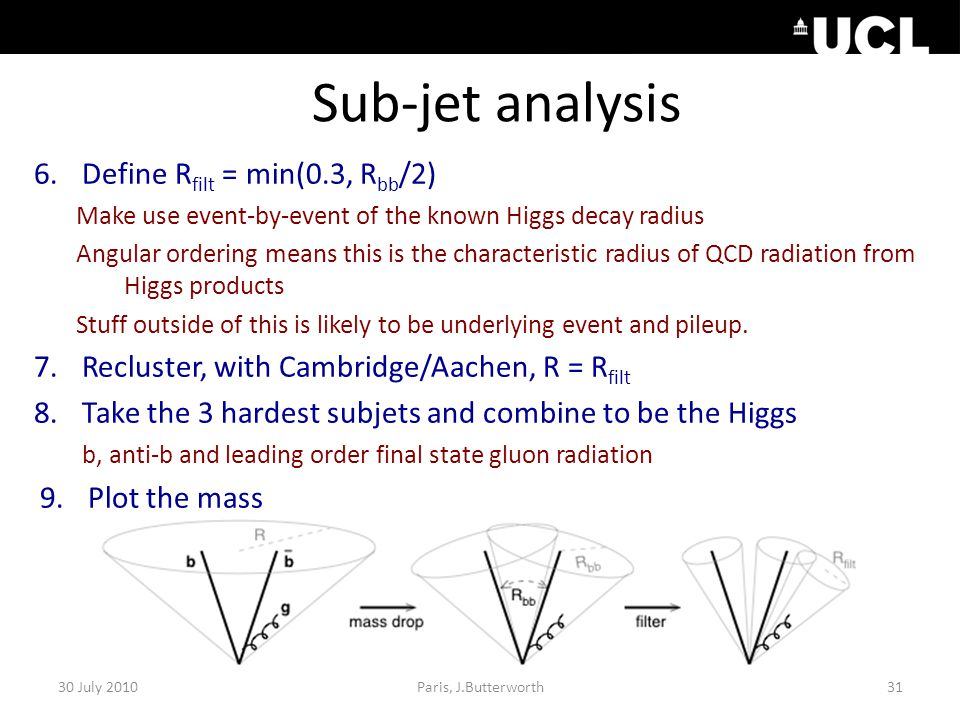 Sub-jet analysis 6.Define R filt = min(0.3, R bb /2) Make use event-by-event of the known Higgs decay radius Angular ordering means this is the characteristic radius of QCD radiation from Higgs products Stuff outside of this is likely to be underlying event and pileup.