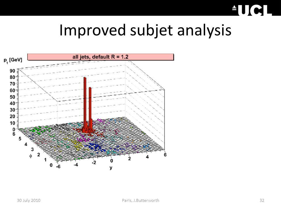 Improved subjet analysis 30 July 201032Paris, J.Butterworth