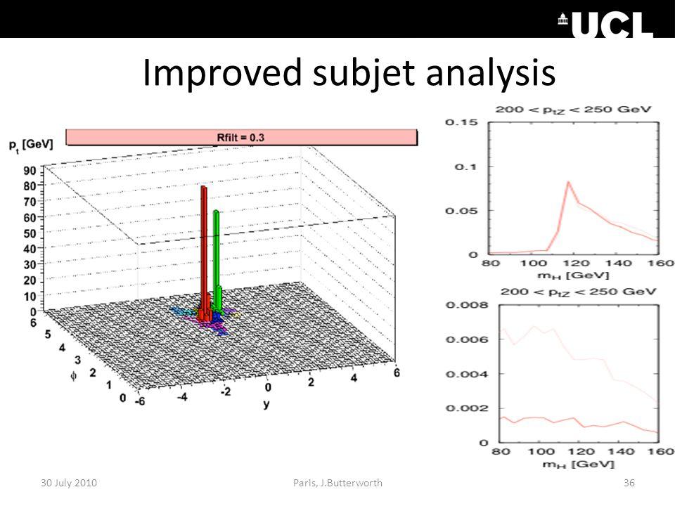 Improved subjet analysis 30 July 201036Paris, J.Butterworth