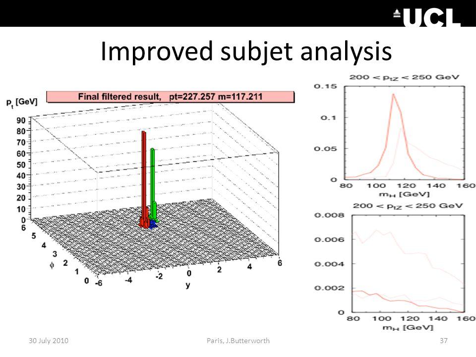 Improved subjet analysis 30 July 201037Paris, J.Butterworth