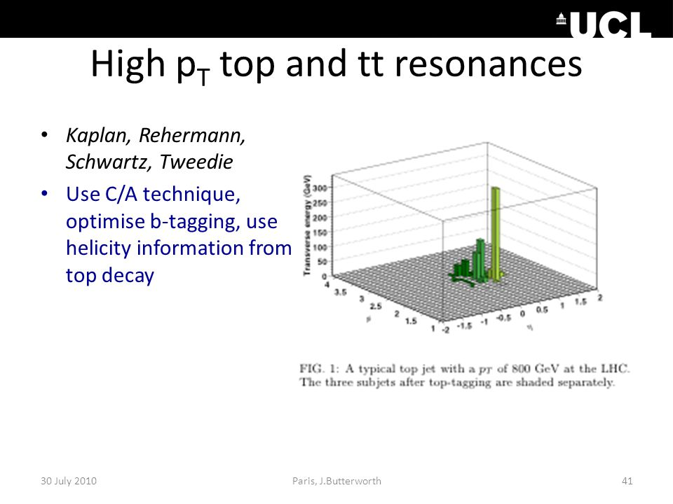 High p T top and tt resonances 30 July 2010Paris, J.Butterworth41 Kaplan, Rehermann, Schwartz, Tweedie Use C/A technique, optimise b-tagging, use helicity information from top decay