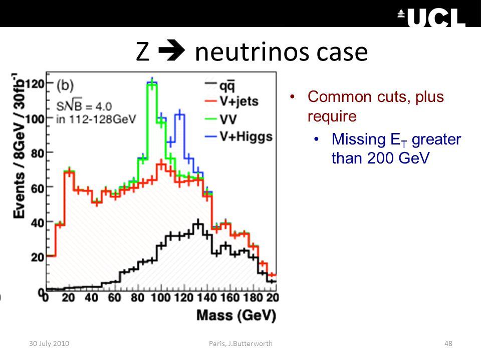 Z  neutrinos case 30 July 201048Paris, J.Butterworth Common cuts, plus require Missing E T greater than 200 GeV