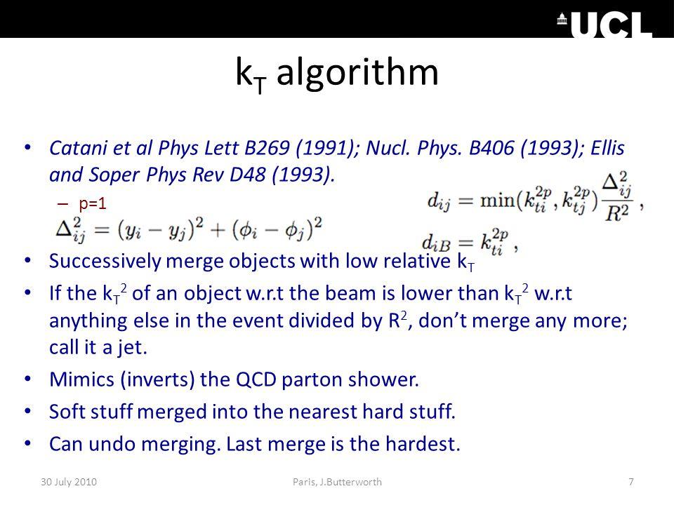 k T algorithm Catani et al Phys Lett B269 (1991); Nucl.