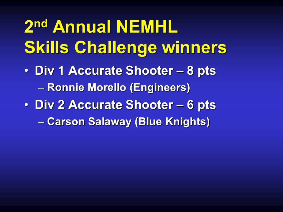 2 nd Annual NEMHL Skills Challenge winners Div 1 Accurate Shooter – 8 ptsDiv 1 Accurate Shooter – 8 pts –Ronnie Morello (Engineers) Div 2 Accurate Sho