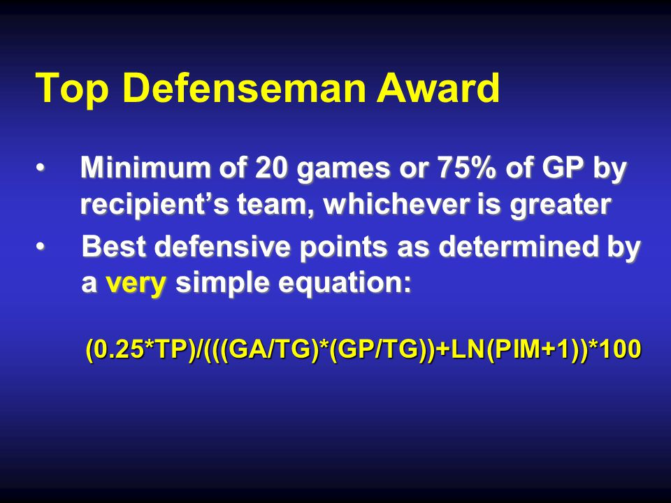 Top Defenseman Award Minimum of 20 games or 75% of GP by recipient's team, whichever is greaterMinimum of 20 games or 75% of GP by recipient's team, whichever is greater Best defensive points as determined by a very simple equation:Best defensive points as determined by a very simple equation:(0.25*TP)/(((GA/TG)*(GP/TG))+LN(PIM+1))*100