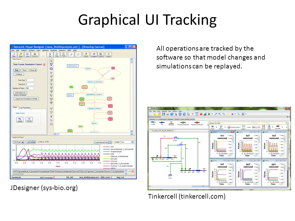 Graphical UI Tracking All operations are tracked by the software so that model changes and simulations can be replayed. JDesigner (sys-bio.org) Tinker
