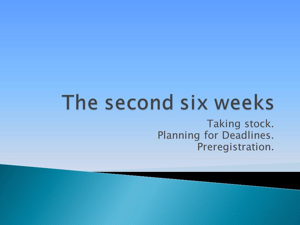 Taking stock. Planning for Deadlines. Preregistration.