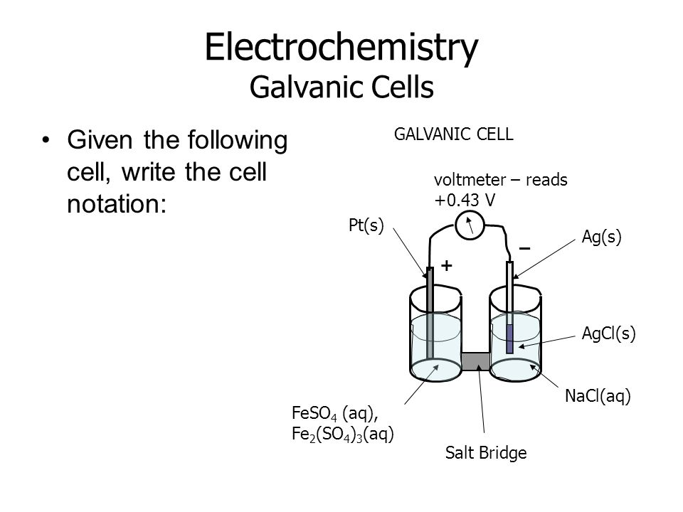 Electrochemistry Galvanic Cells Given the following cell, write the cell notation: Salt Bridge voltmeter – reads +0.43 V Pt(s) FeSO 4 (aq), Fe 2 (SO 4 ) 3 (aq) Ag(s) NaCl(aq) GALVANIC CELL AgCl(s) + –