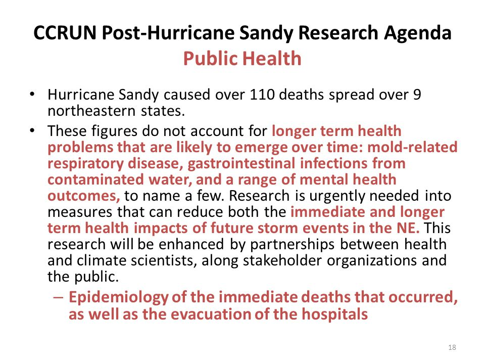 CCRUN Post-Hurricane Sandy Research Agenda Public Health Hurricane Sandy caused over 110 deaths spread over 9 northeastern states.