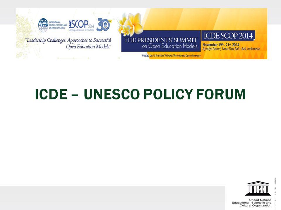 ICDE – UNESCO POLICY FORUM