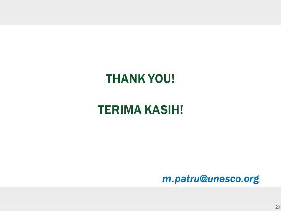 20 THANK YOU! TERIMA KASIH! m.patru@unesco.org