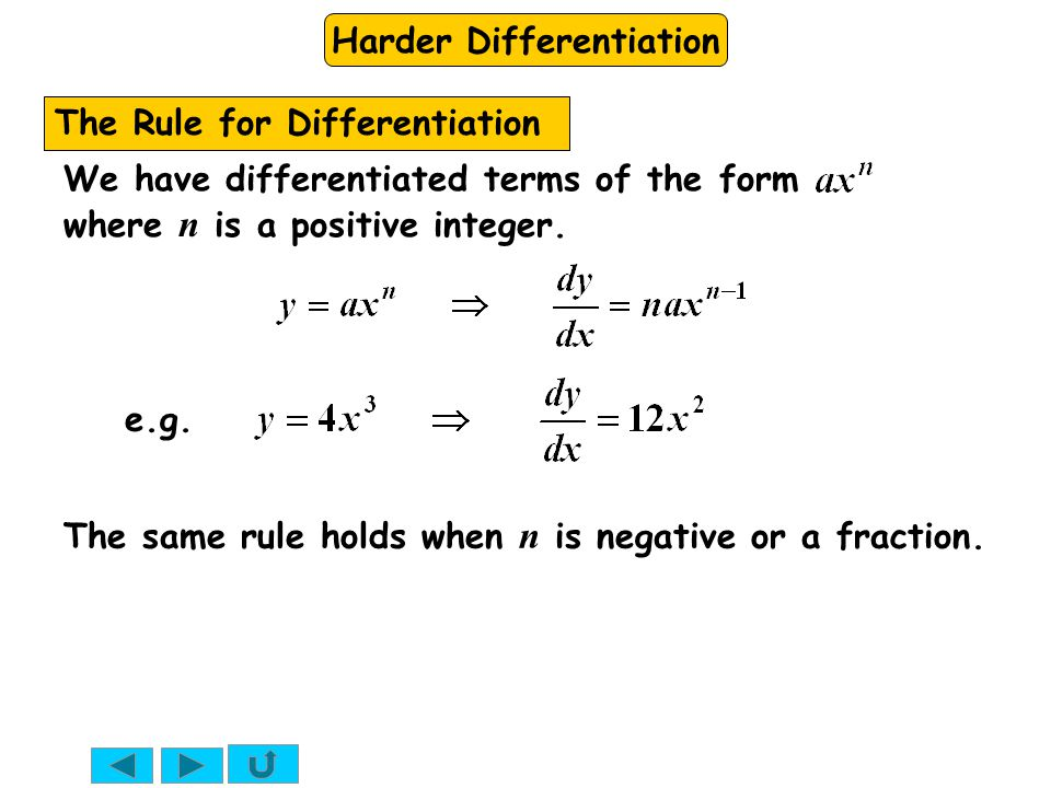 Harder Differentiation We have differentiated terms of the form where n is a positive integer. e.g. The Rule for Differentiation The same rule holds w