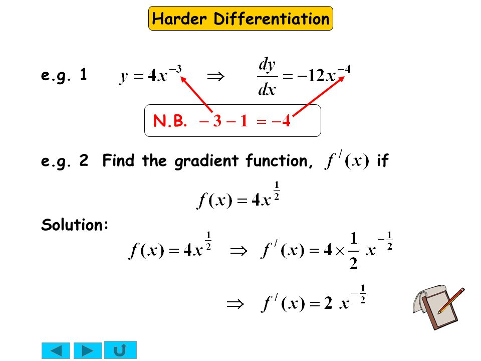 Harder Differentiation e.g. 2 Find the gradient function, if Solution: e.g. 1 N.B.  3  1
