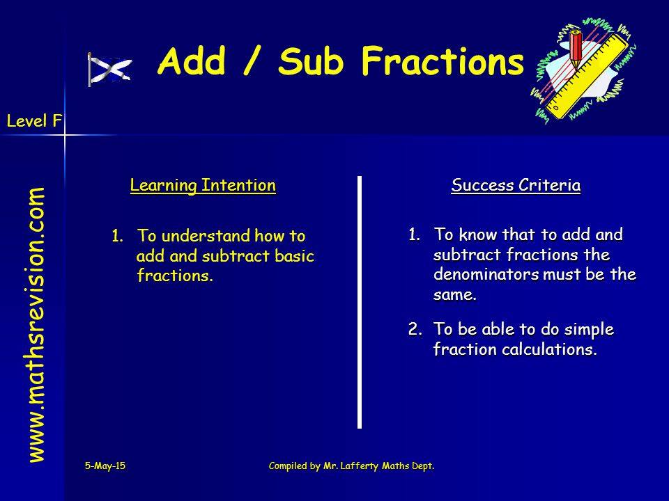 5-May-15Compiled by Mr. Lafferty Maths Dept. www.mathsrevision.com Learning Intention Success Criteria 1.To know that to add and subtract fractions th