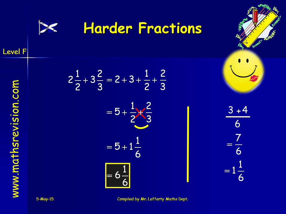 www.mathsrevision.com 5-May-15Compiled by Mr. Lafferty Maths Dept. Harder Fractions 4 + 6 3 Level F