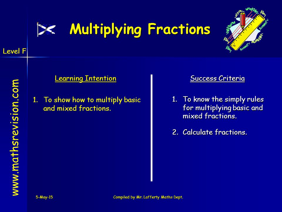 Multiplying Fractions 5-May-15Compiled by Mr. Lafferty Maths Dept. www.mathsrevision.com Learning Intention Success Criteria 1.To know the simply rule