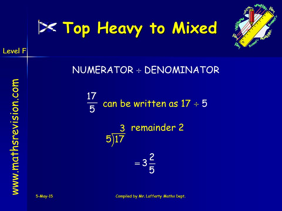 www.mathsrevision.com 5-May-15Compiled by Mr. Lafferty Maths Dept. NUMERATOR  DENOMINATOR Top Heavy to Mixed can be written as 17  5 remainder 2 Lev